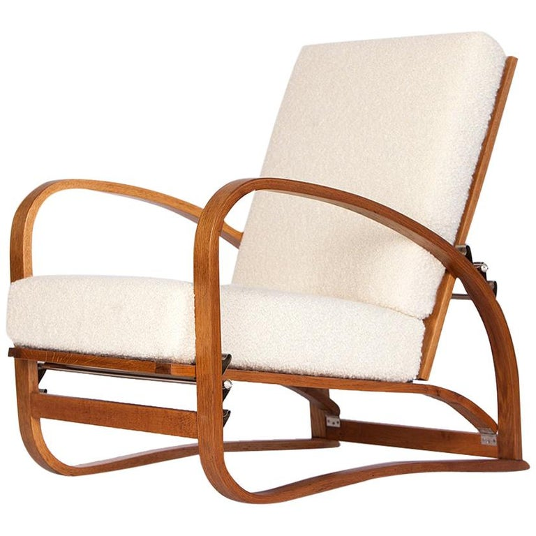 Adjustable H-70 Armchair by Jindrich Halabala, 1930s For Sale