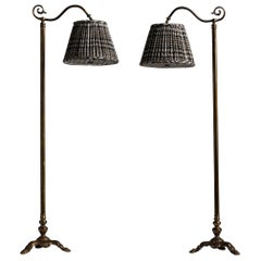 Adjustable Heavy Brass Floor Lamps with Textured Wool Plaid Shade