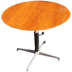 Adjustable-Height Round Teak Coffee Table