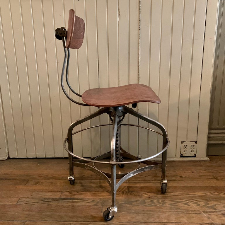 American Adjustable Industrial Brushed Steel Toledo Factory Stool For Sale