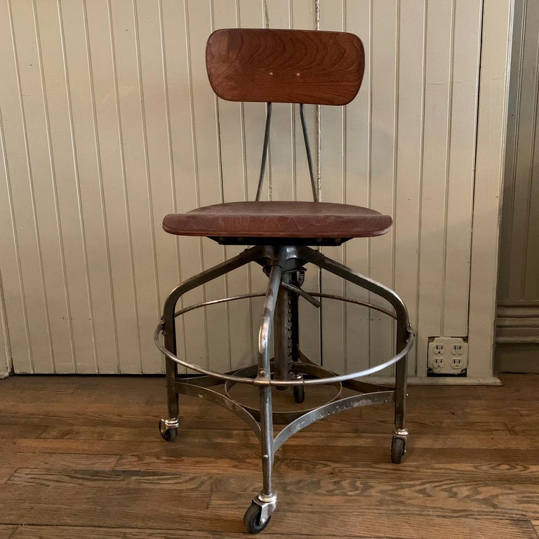 Adjustable Industrial Brushed Steel Toledo Factory Stool In Good Condition For Sale In Brooklyn, NY