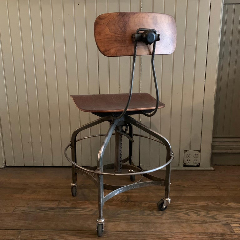 20th Century Adjustable Industrial Brushed Steel Toledo Factory Stool For Sale