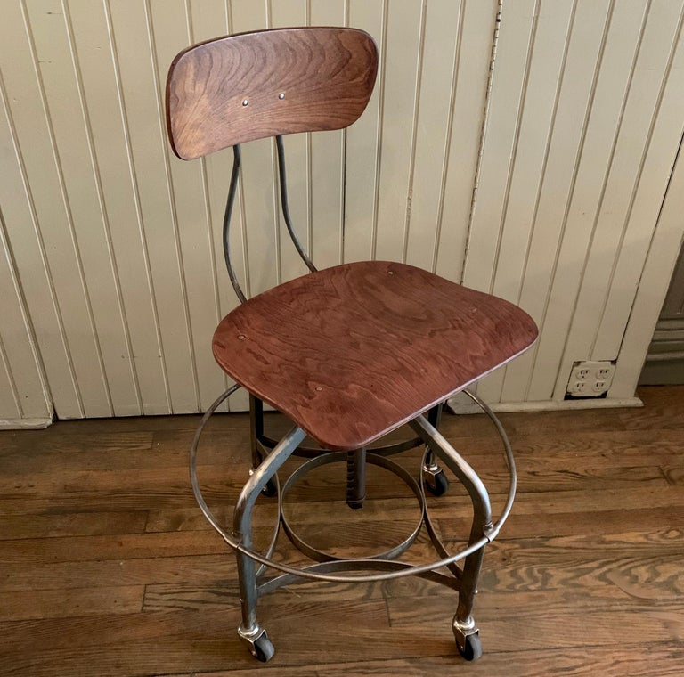 Adjustable Industrial Brushed Steel Toledo Factory Stool For Sale 1