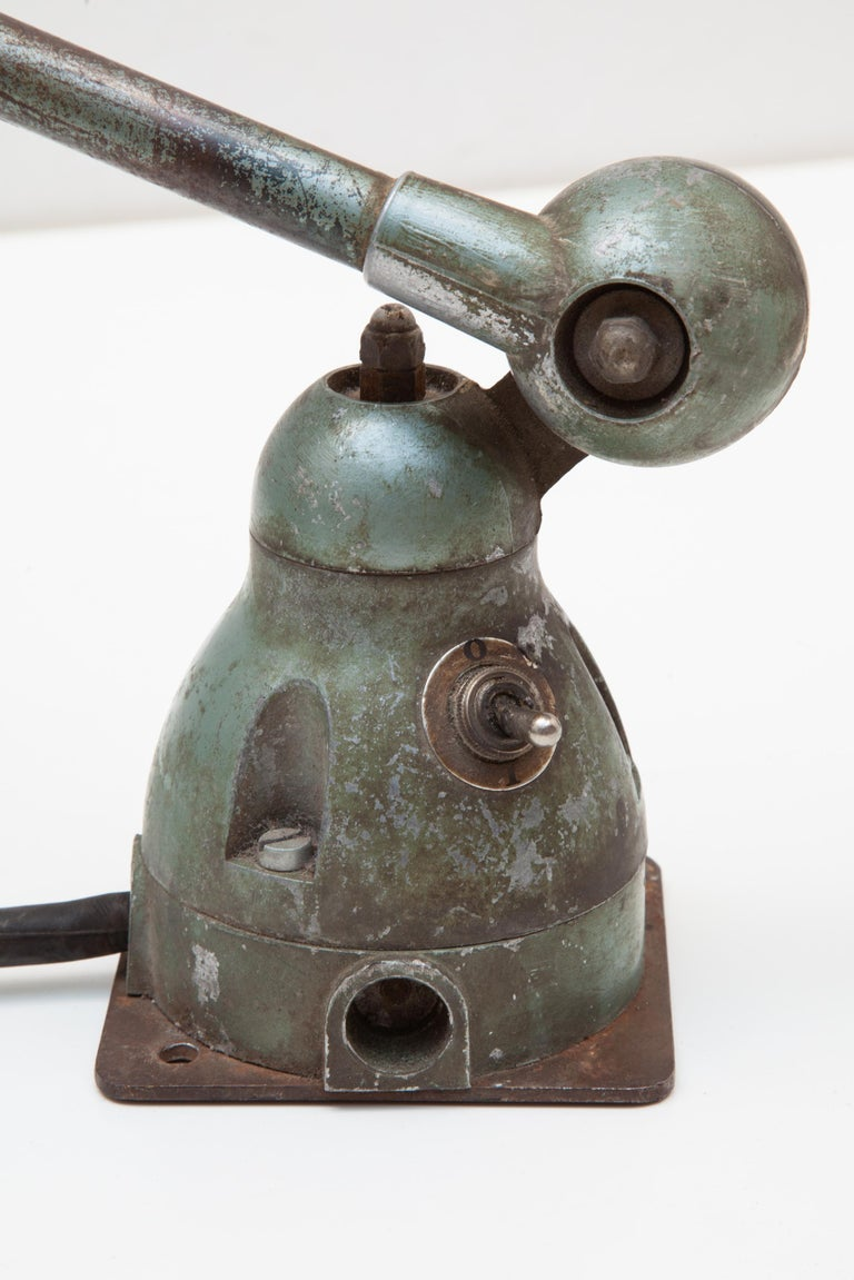 French Adjustable Industrial Two-Arm Work Table, Desk Lamp by Jean-Louis Domecq, Jieldé For Sale