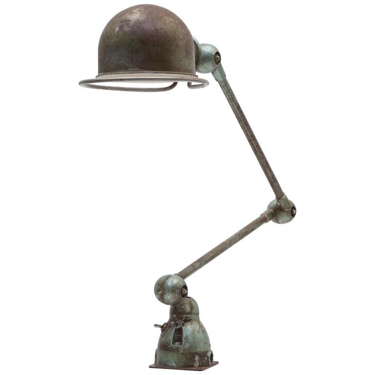 Adjustable Industrial Two-Arm Work Table, Desk Lamp by Jean-Louis Domecq, Jieldé For Sale