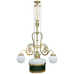 Adjustable Jugendstil Chandelier with Original Opal Glasses, Vienna, circa 1908