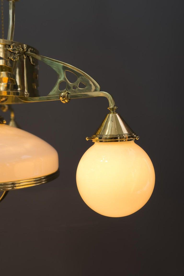 Adjustable Jugendstil Chandelier with Original Opal Glasses, Vienna, circa 1910s For Sale 10