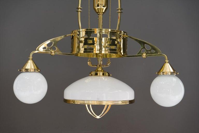 Brass Adjustable Jugendstil Chandelier with Original Opal Glasses, Vienna, circa 1910s For Sale