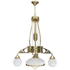 Adjustable Jugendstil Chandelier with Original Opal Glasses, Vienna, circa 1910s