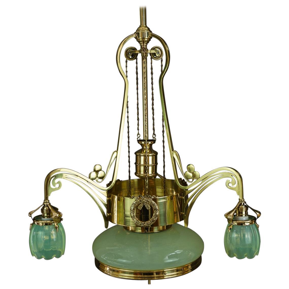 Adjustable Jugendstil Chandelier with Original Opaline Glass Vienna, circa 1908