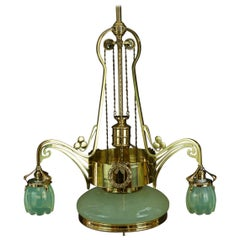 Adjustable Jugendstil Chandelier with Original Opaline Glass Vienna, circa 1908