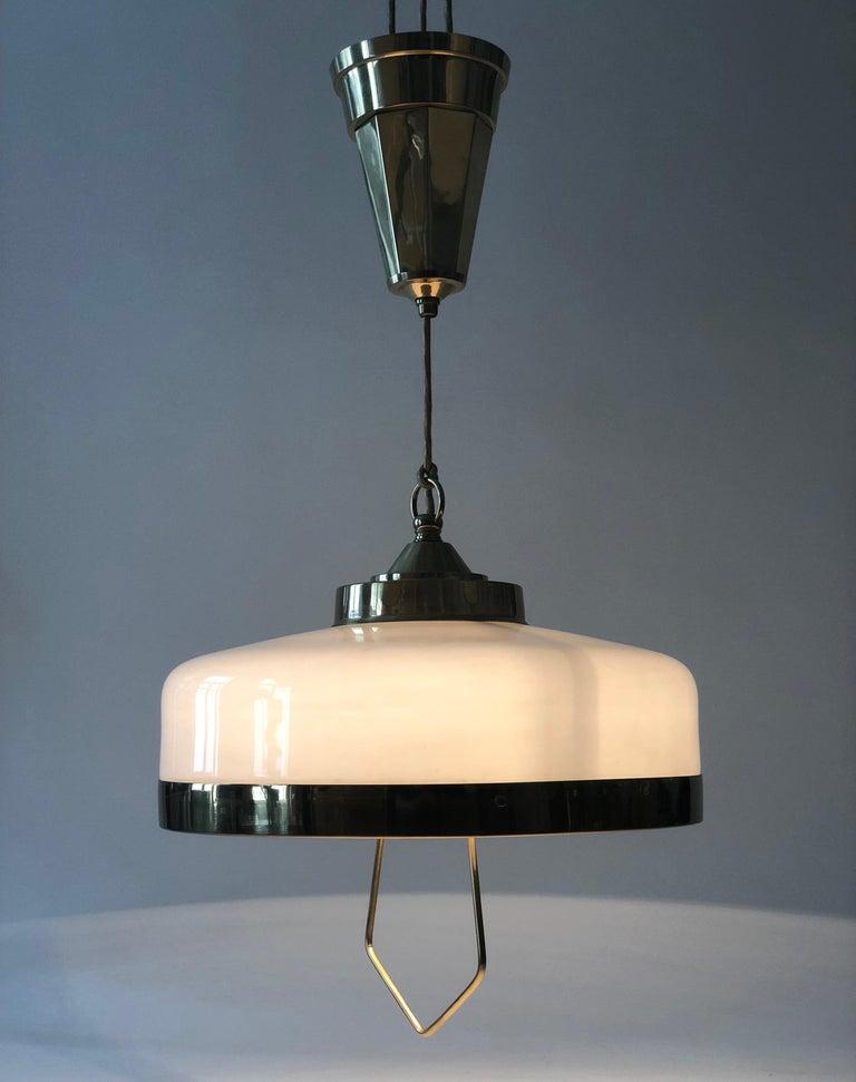 Adjustable Jugendstil Chandelier with White Opal Glass For Sale 6