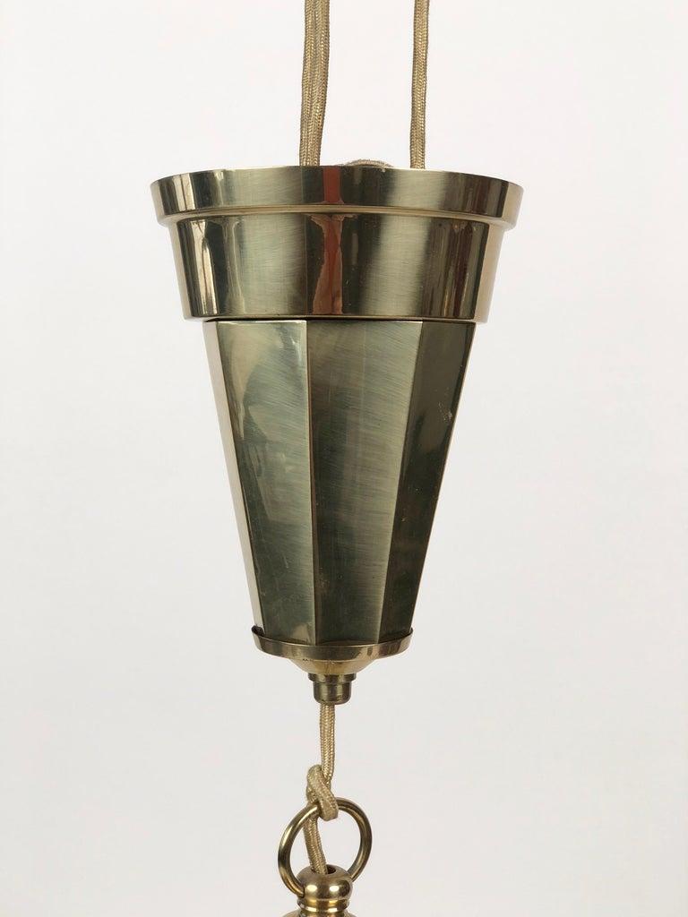 Adjustable Jugendstil Chandelier with White Opal Glass For Sale 2