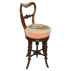 Adjustable Mahogany Piano Stool or Dressing Table Chair, English 19th Century