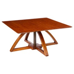 Adjustable Mahogany Square Low Table, Modern