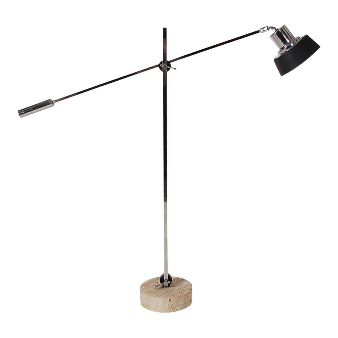 Adjustable Midcentury Postmodern Italian Floor Lamp in Chrome and Travertine