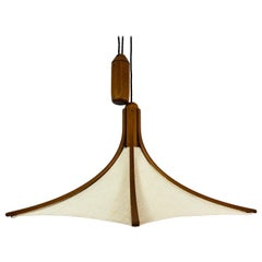 Adjustable Midcentury Wooden Pendant Lamp with Counterweight by Domus, 1960s