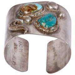 Adjustable Native American Vintage Sterling Silver Turquoise Cuff Bracelet