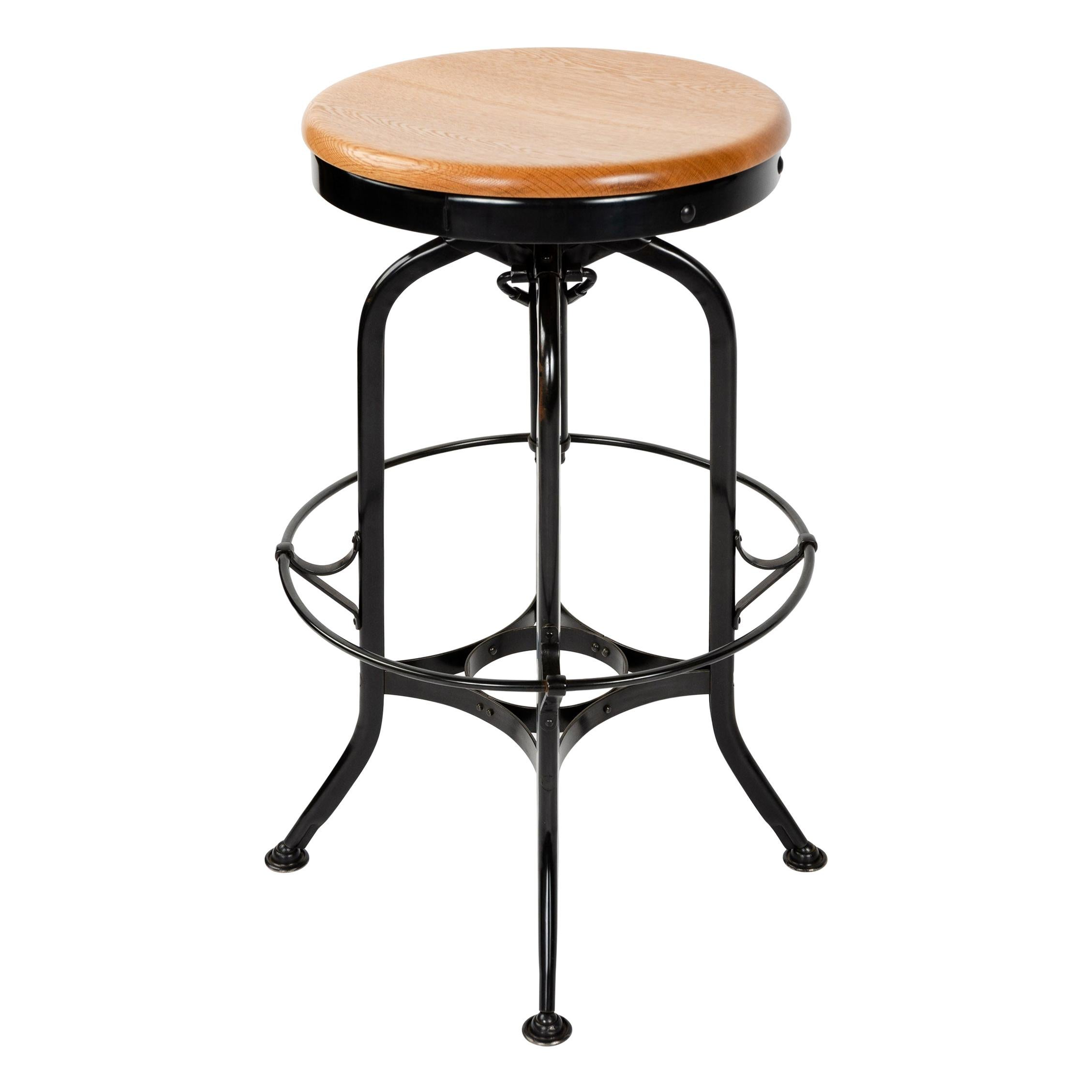 Adjustable Oak and Steel Stool by Toledo