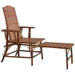 Adjustable Rattan Armchair and Footrest with Blue Woven Details, France, 1930s