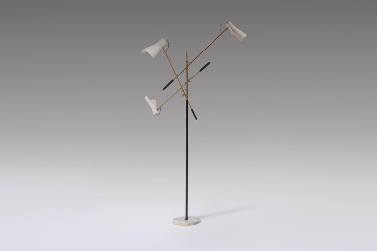 Adjustable Three-Armed Floor Lamp by Stilnovo For Sale 3