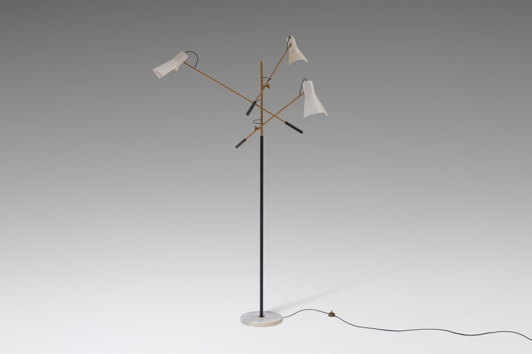 European Adjustable Three-Armed Floor Lamp by Stilnovo For Sale
