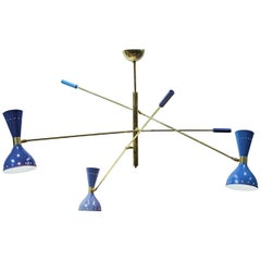 Adjustable Triennale 3 Arms Chandelier Brass, Stilnovo Style, Three Hues of Blue