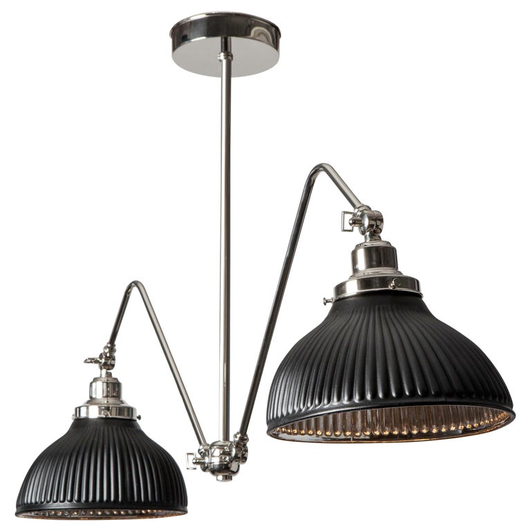 Adjustable Two Arm Billiard Chandelier with Vintage Black Mercury Glass Shades For Sale