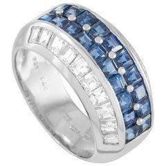 Adler 18 Karat White Gold 1.76 Carat Diamond and Sapphire Ring