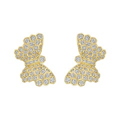 Adler 18 Karat Yellow Gold and Diamond Butterfly Earrings