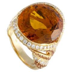 Adler 18 Karat Yellow Gold Diamond, Citrine and Orange Sapphire Bombe Ring