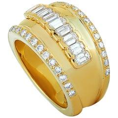 Adler 18 Karat Yellow Gold and  1.75 Carat Diamond Bombe Ring