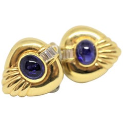 Adler Cabochon Sapphire and Diamond 18 Carat Gold Cocktail Earrings, circa 1980s