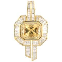 Adler Diamond and Citrine Pendant 12 Carat Citrine 5.90 Carat Diamonds