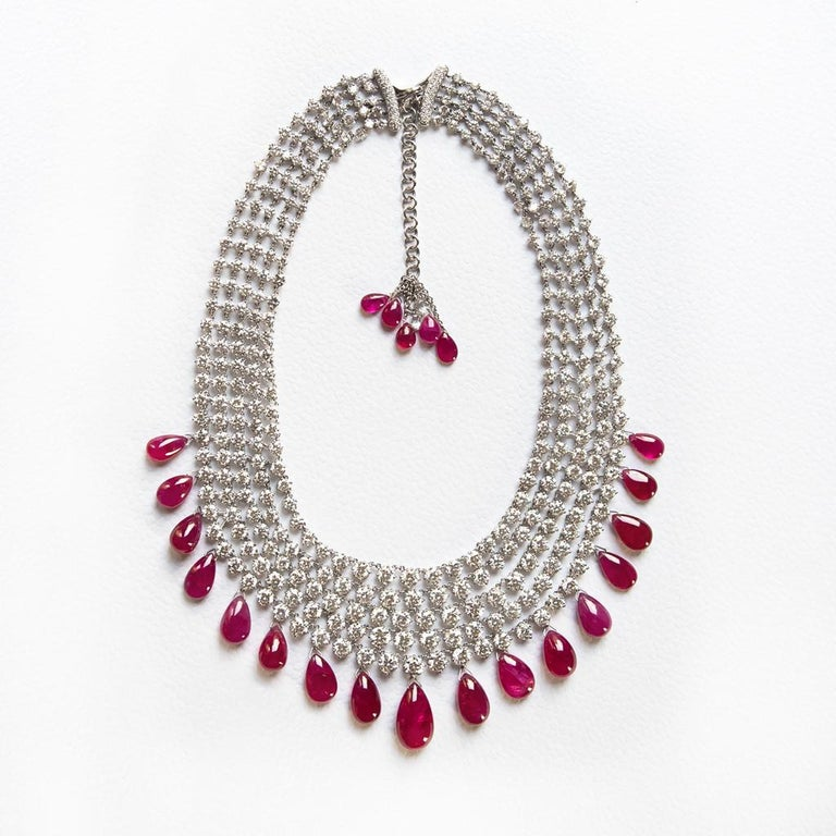 Adler Diamond and Ruby 'No Heat' Necklace AGL Certified 211 Carat Total Weight In Excellent Condition For Sale In Houston, TX