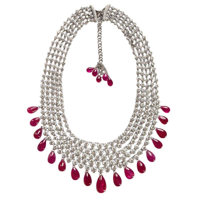 Adler Diamond and Ruby 'No Heat' Necklace AGL Certified 211 Carat Total Weight For Sale