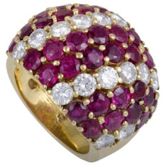 Adler Diamond and Ruby Pave Yellow Gold Bombe Ring