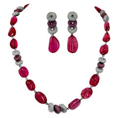 Adler Diamond Spinel Beads Necklace and Earrings