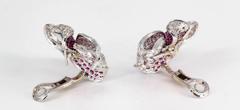 Women's Adler Diamond, Ruby and White Gold Flower Earrings For Sale
