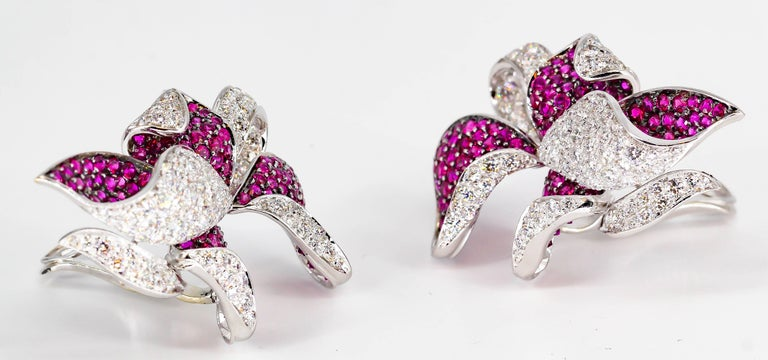 Adler Diamond, Ruby and White Gold Flower Earrings For Sale 1