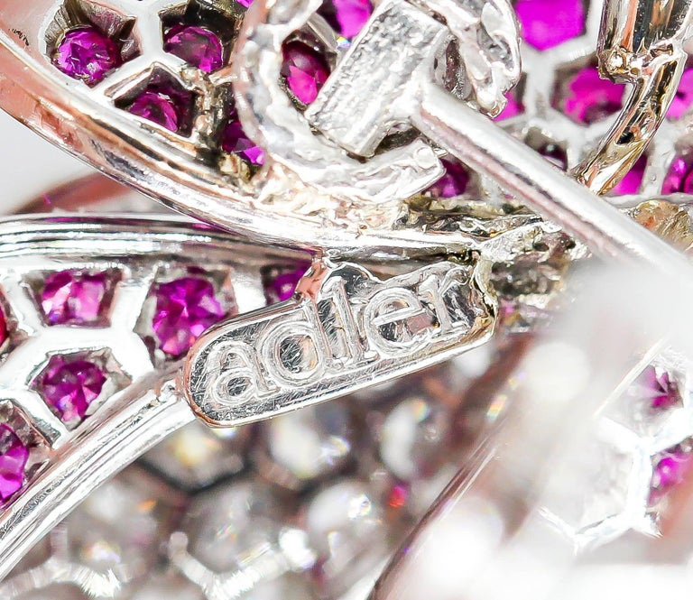 Adler Diamond, Ruby and White Gold Flower Earrings For Sale 3