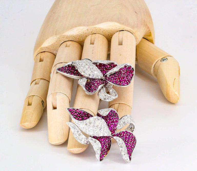 Adler Diamond, Ruby and White Gold Flower Earrings For Sale 4