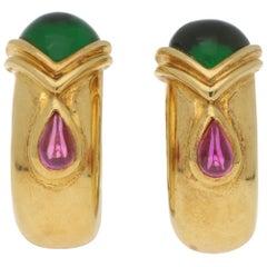 Adler Etruscan Style Tourmaline Half Hoop Clip Earrings in Yellow Gold