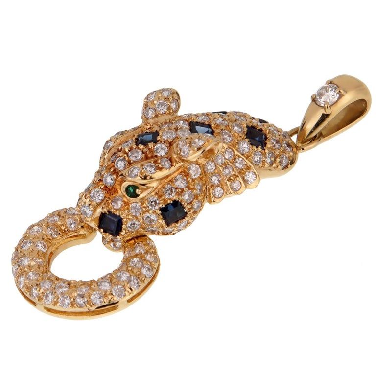 Adler Panther Diamond Sapphire Gold Pendant Necklace In Excellent Condition For Sale In Feasterville, PA