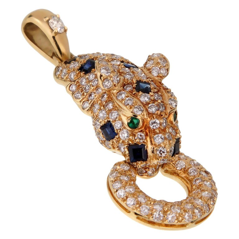 Adler Panther Diamond Sapphire Gold Pendant Necklace For Sale