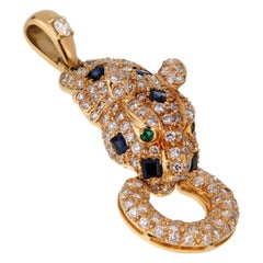 Adler Panther Diamond Sapphire Gold Pendant Necklace