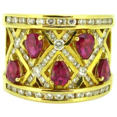 Adler Pear Cut Ruby Diamonds Yellow Gold Cross Cocktail Band Ring