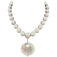 Adler Pendant Diamond Mother of Pearl White Pearl Diamond Clasp Necklace