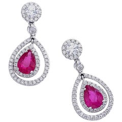 Adler Ruby and Diamond on White Gold Earrings
