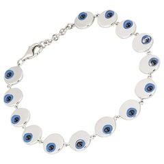 Adler White Gold Blue Enamel Eye Bracelet